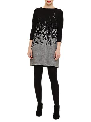 Phase Eight Fabian Abstract Floral Knit Tunic, Black/Grey