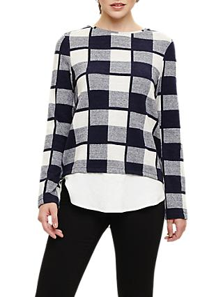 Phase Eight Chyna Brushed Check Top, Navy/Ivory