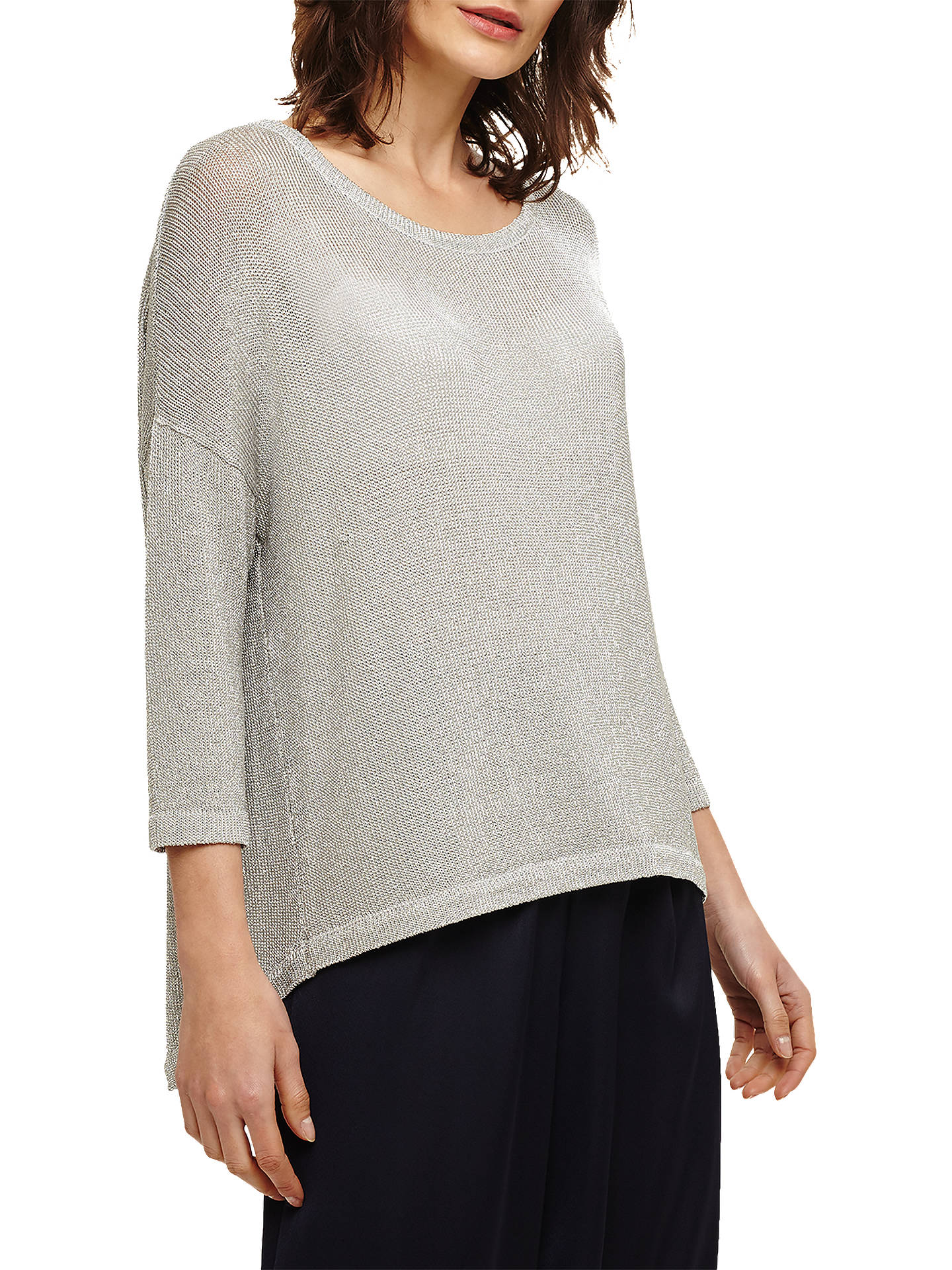 BuyPhase Eight Miranda Metallic Yarn Knit Top, Silver, XS Online at johnlewis.com