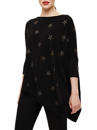 Phase Eight Star Shimmer Asymmetric Jumper, Black