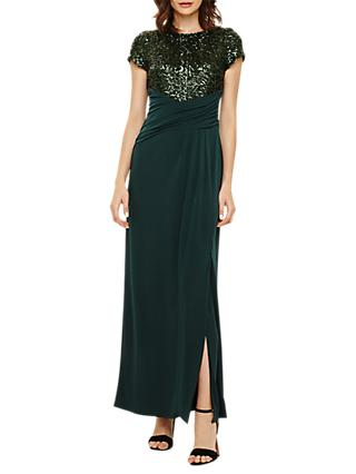 Phase Eight Sinitta Sequin Maxi Dress, Emerald Green