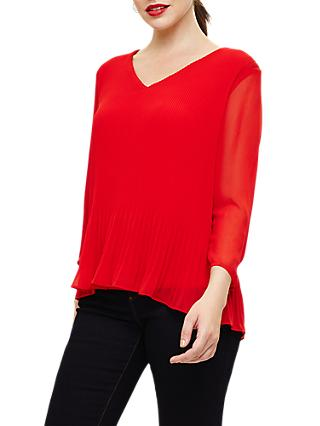 Phase Eight Ella Pleated Long Sleeve Blouse, Firecracker