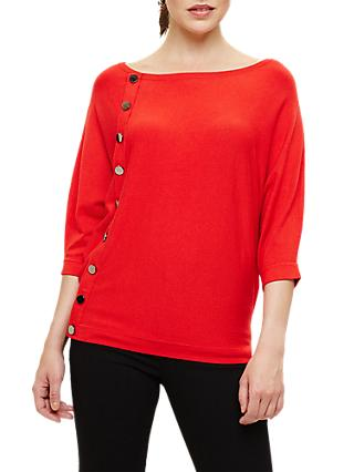 Phase Eight Natka Button Batwing Knit, Salsa Red