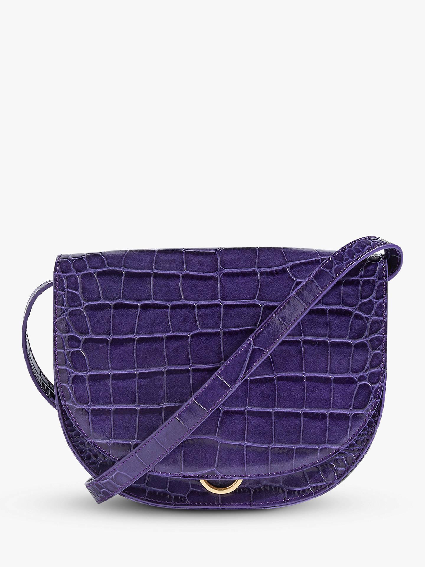 967f184c1 Buy Jigsaw Croc Leather Saddle Bag, Purple Online at johnlewis.com ...