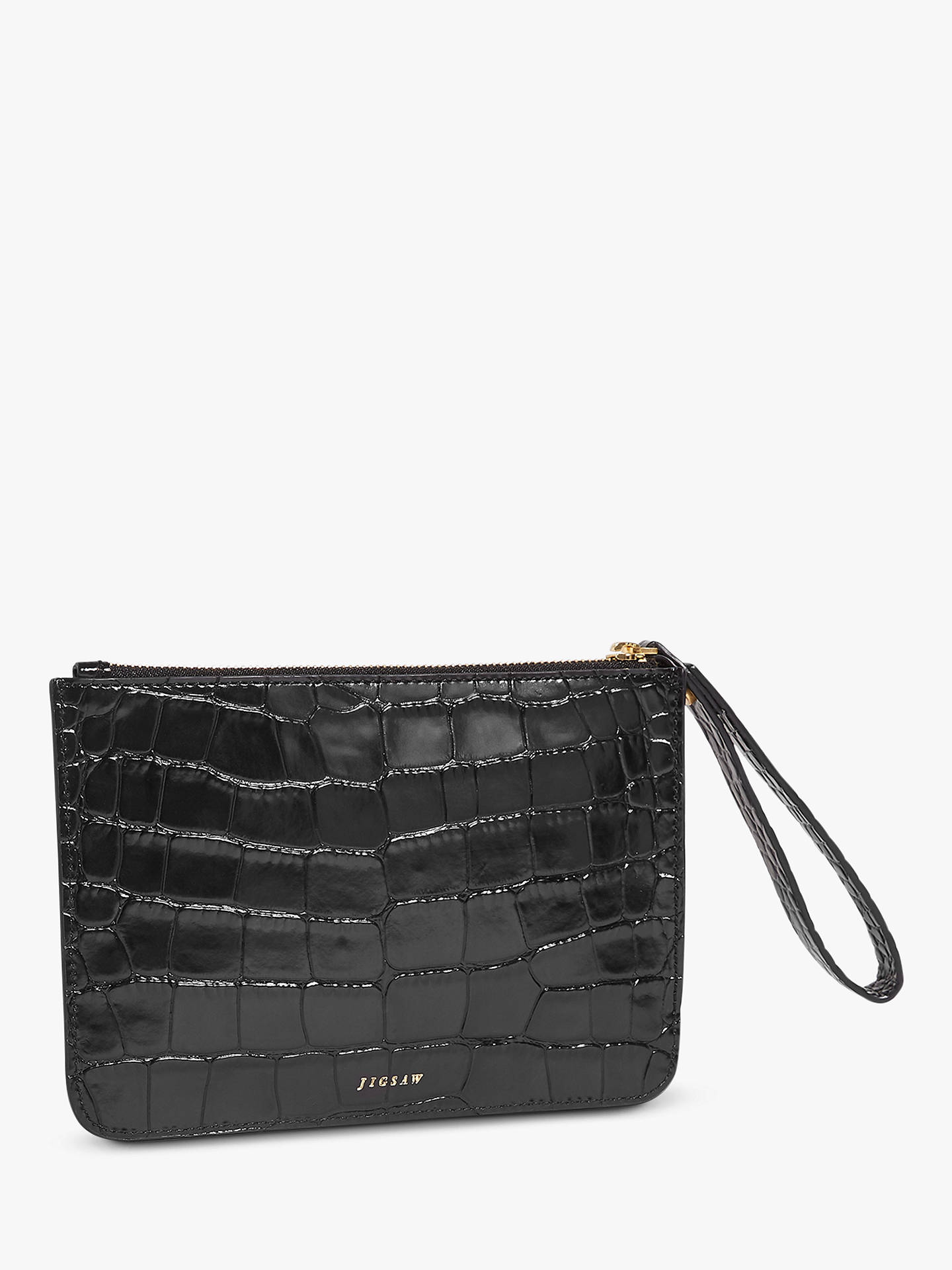 6d9446182 Buy Jigsaw Croc Leather Clutch Bag, Black Online at johnlewis.com ...