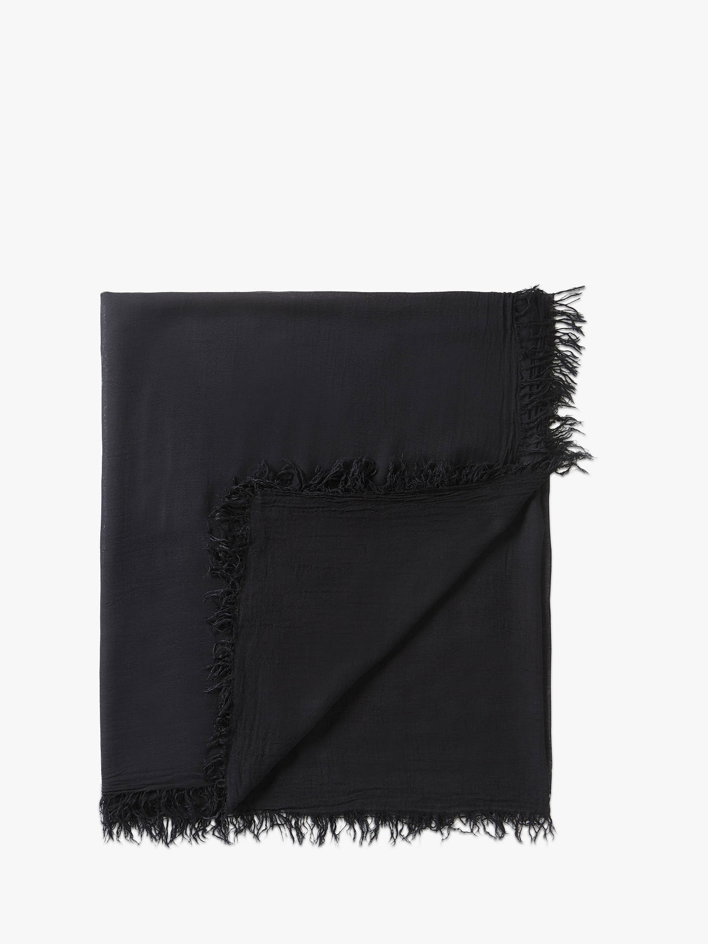 BuyPure Collection Gauzy Frayed Edge Scarf, Black Online at johnlewis.com
