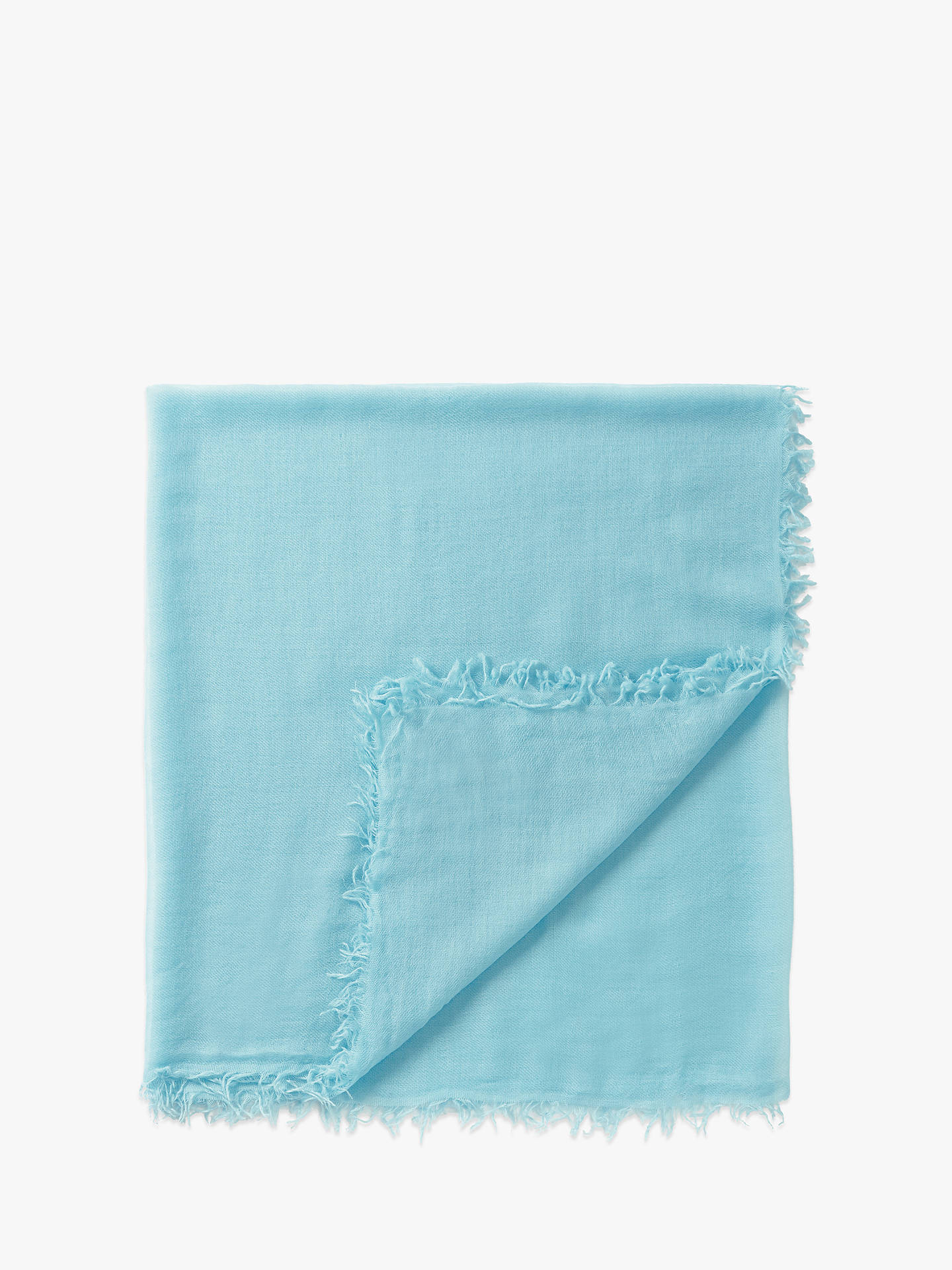 BuyPure Collection Gauzy Frayed Edge Cashmere Scarf, Blue Ocean, One Size Online at johnlewis.com
