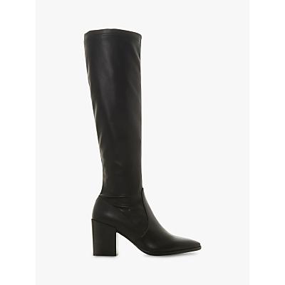 Dune Black Talister Block Heel Knee High Boots, Black