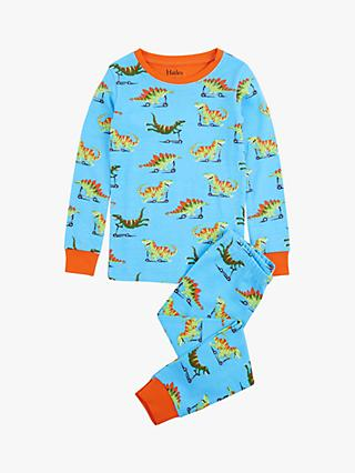 Hatley Boys' Scooting Dinosaur Print Pyjamas, Blue