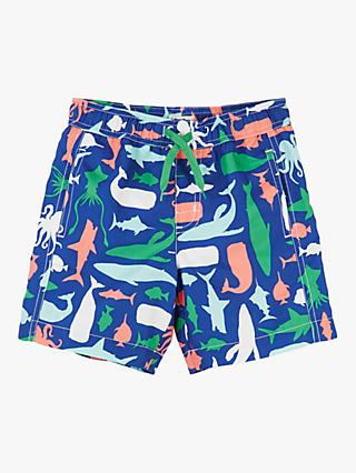 Hatley Boys' Sea Critters Print Swimming Shorts, Blue