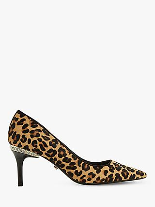 Dune Bellowes Diamante Heel Trim Court Shoes, Leopard Pony