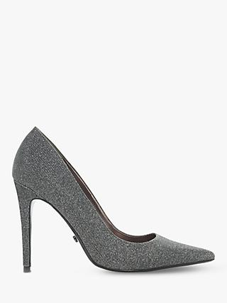 Dune Amarettii Court Shoes, Metallic Pewter