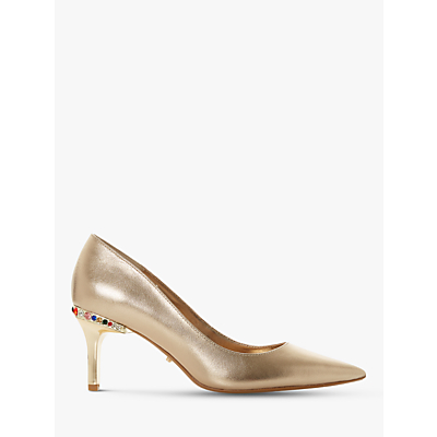 Dune Bellowes Multicoloured Diamante Heel Trim Court Shoes, Gold Leather