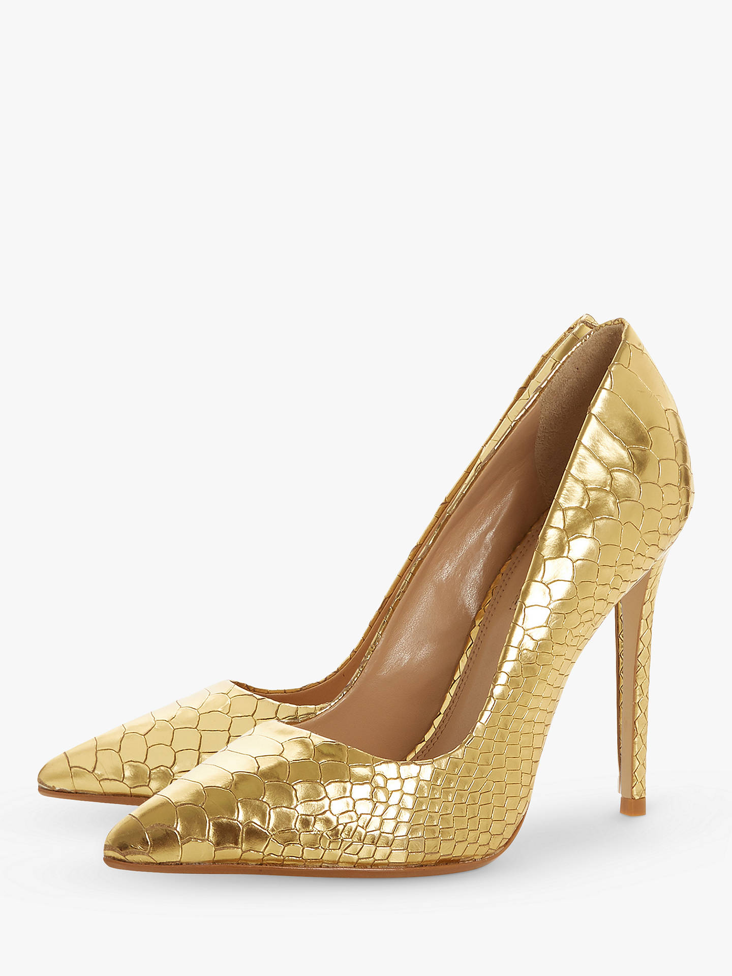 b8044b4be4 Buy Dune Banksy Stiletto Heel Court Shoes, Gold Leather, 5 Online at  johnlewis.