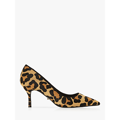 Dune Anncona Wide Fit Kitten Heel Court Shoes, Leopard Suede