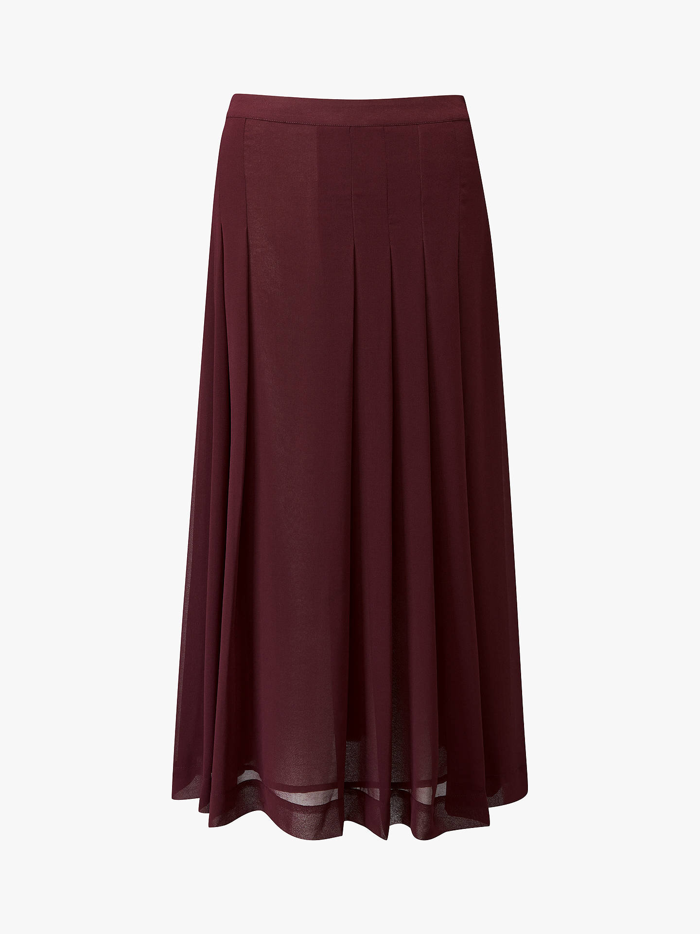 BuyPure Collection Soft Pleat Skirt, Burgundy, 8 Online at johnlewis.com