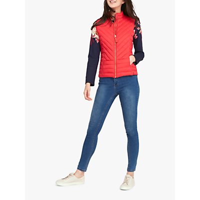 Joules Brindley Chevron Quilted Gilet, Red Currant