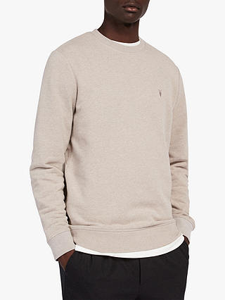 Buy AllSaints Raven Crew Neck Sweatshirt, Grey Marl, XS Online at johnlewis.com