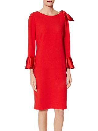 Gina Bacconi Uma Satin Detail Scuba Dress, Fire Red