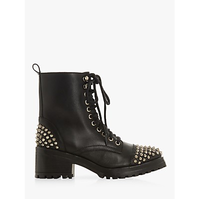 Steve Madden Grifter Studded Block Heel Lace Up Ankle Boots, Black Leather