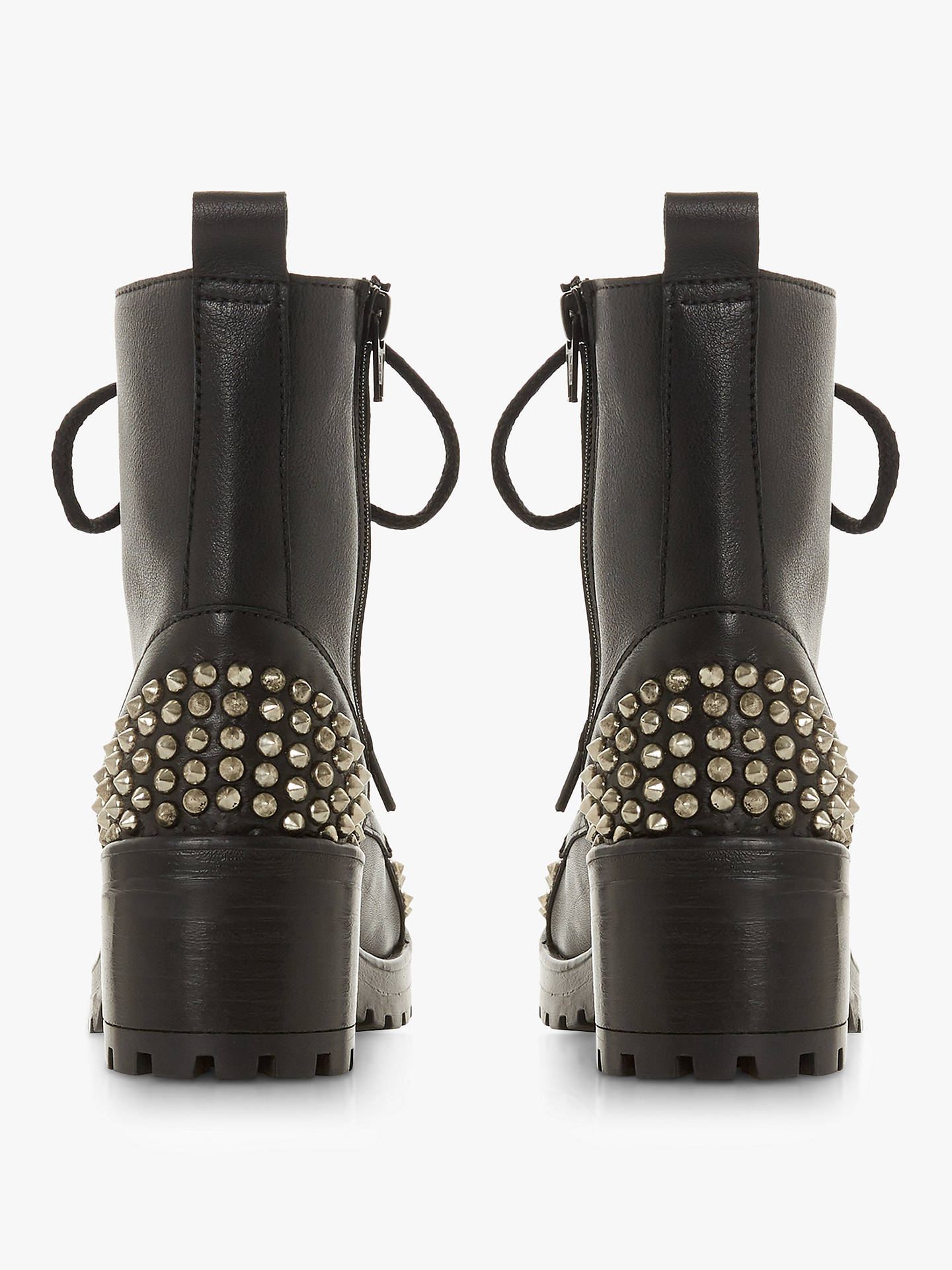 Buy Steve Madden Grifter Studded Block Heel Lace Up Ankle Boots, Black Leather, 5 Online at johnlewis.com