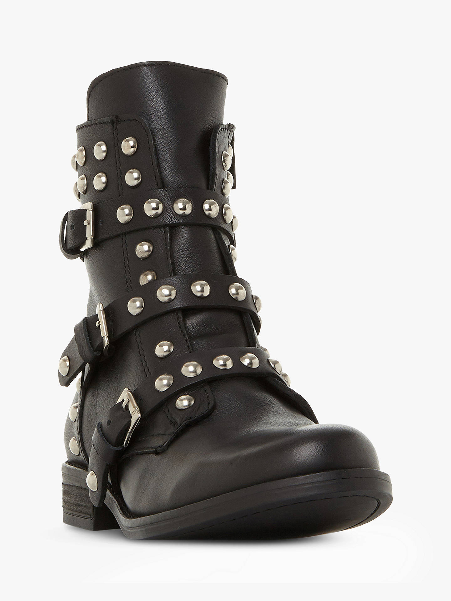Buy Steve Madden Spunky Ankle Boots, Black Leather, 3 Online at johnlewis.com