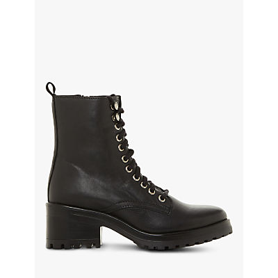 Steve Madden Geneva Block Heel Lace Up Ankle Boots, Black Leather