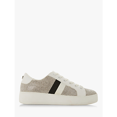 Steve Madden Belle-R Embellished Lace Up Trainers, Silver Diamante