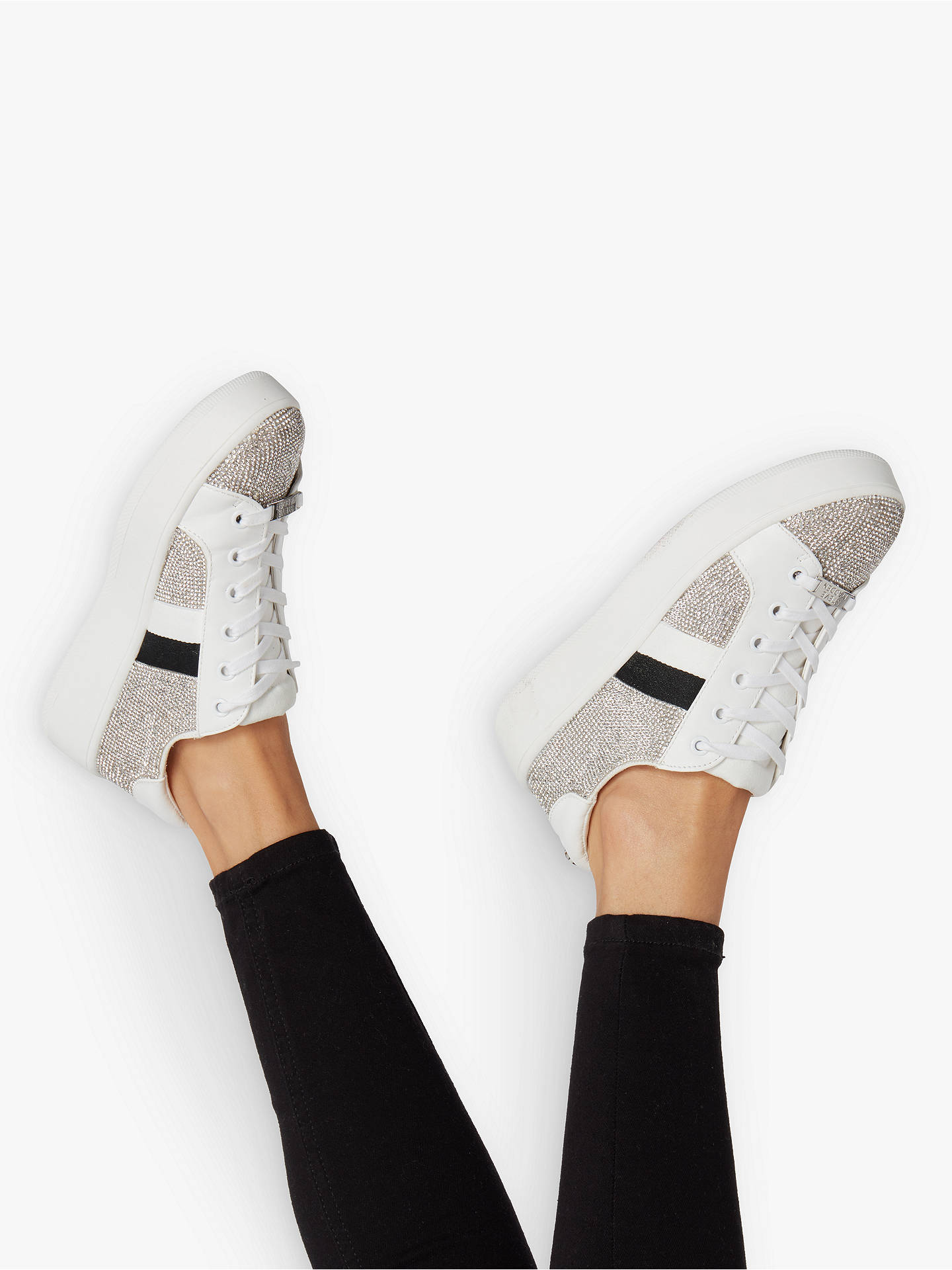 Buy Steve Madden Belle-R Embellished Lace Up Trainers, Silver Diamante, 3 Online at johnlewis.com