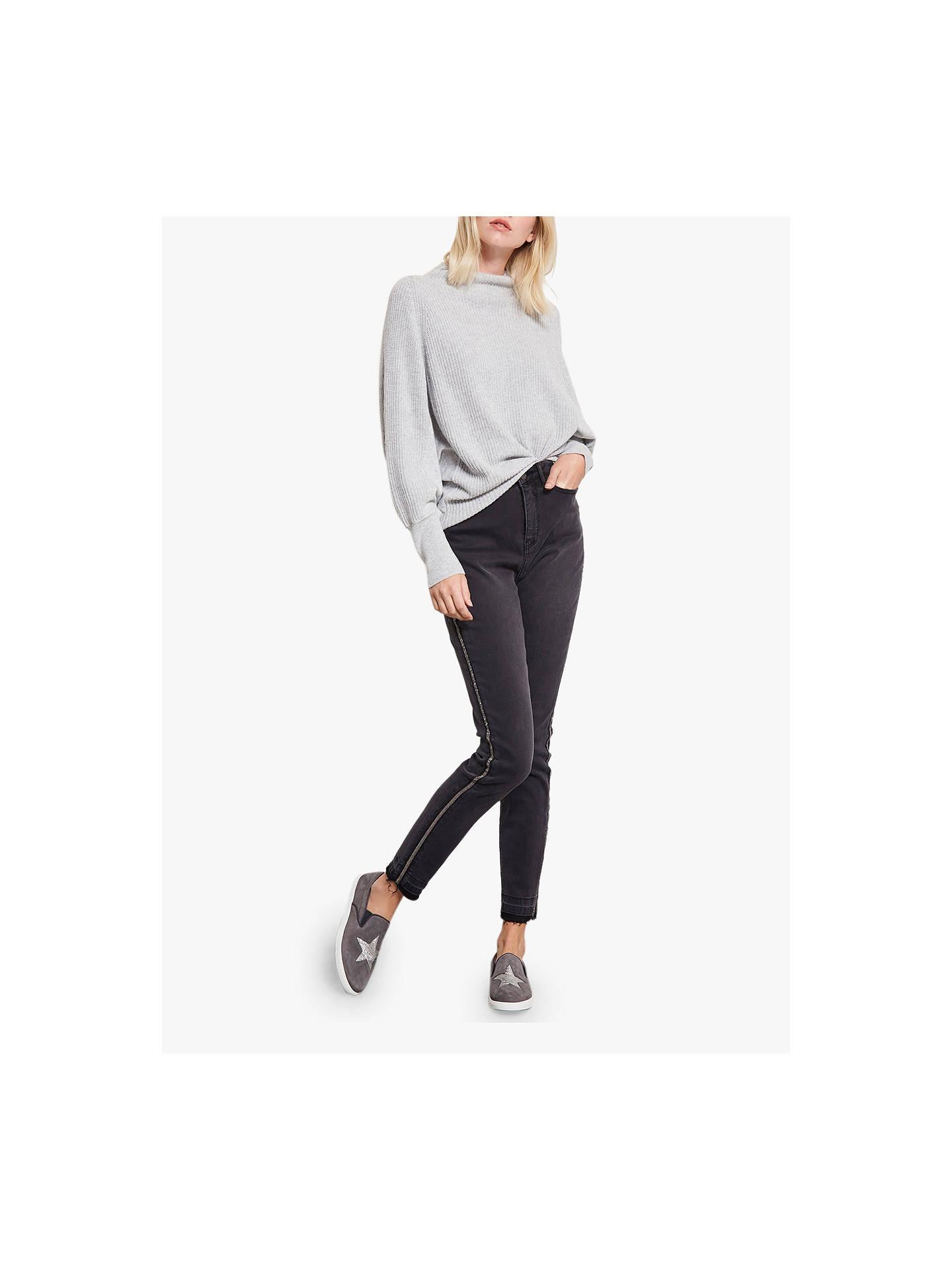 2dedb08aa983 Buy Mint Velvet Joliet Side Stripe Skinny Jeans, Black, 16L Online at  johnlewis.