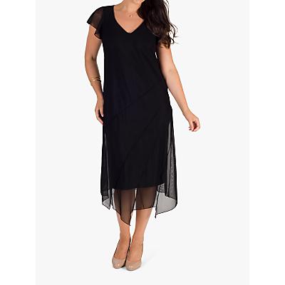 Chesca Asymmetric Hem & Seam Detail Mesh Dress, Black