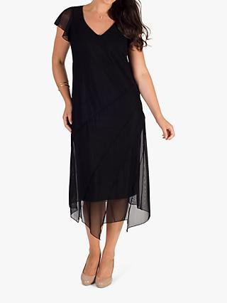 Chesca Asymmetric Hem & Seam Detail Mesh Dress, Black