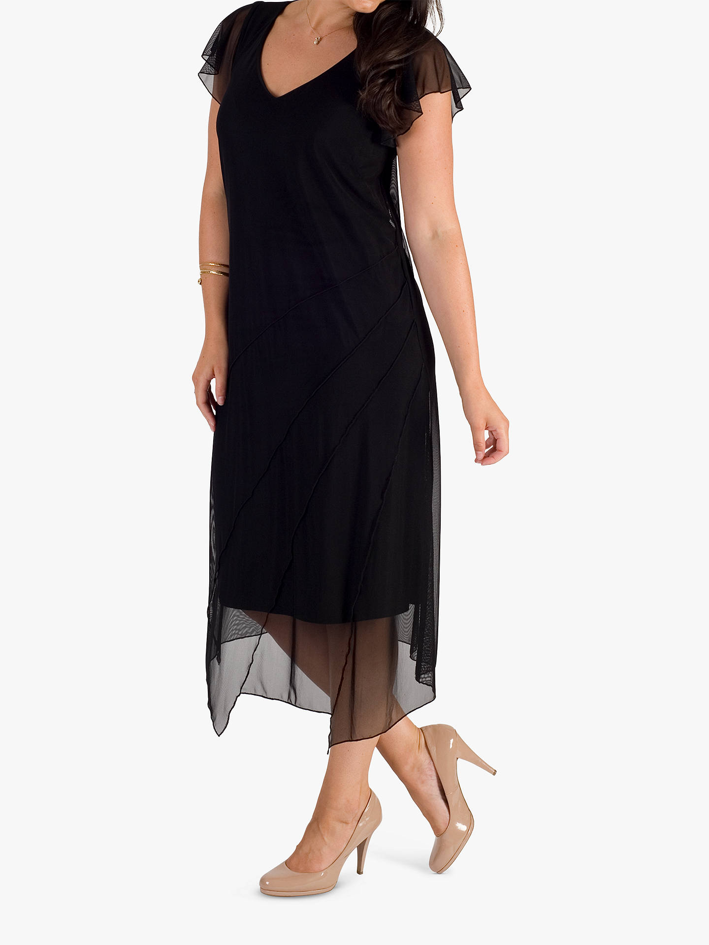 BuyChesca Asymmetric Hem & Seam Detail Mesh Dress, Black, 12 Online at johnlewis.com