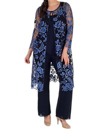 Chesca Embroidered Mesh Coat, Iris/Navy