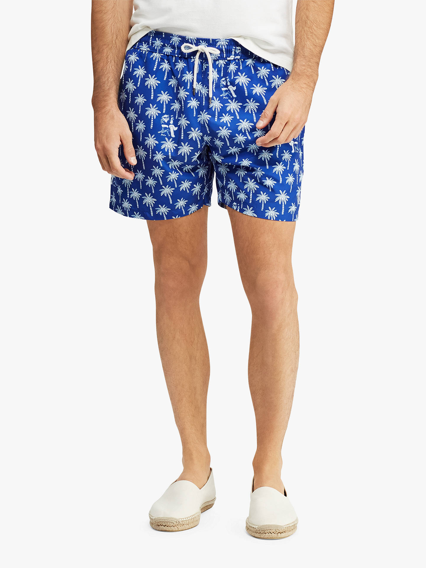 7eeec93211 Buy Polo Ralph Lauren Palm Tree Swim Shorts, Blue, L Online at johnlewis.