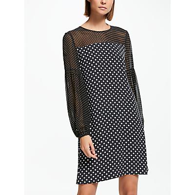 Finery Alexandra Polka Dot Dress, Black/Multi