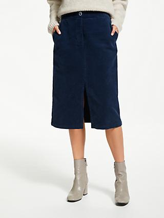 Finery Alton Cotton Cord Skirt, Midnight Blue