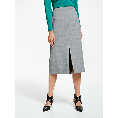 Finery Moa Tailored Midi Skirt, Grey Multi