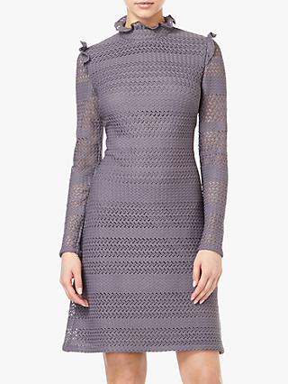 Adrianna Papell Knit And Lace A-Line Dress, Gunmetal