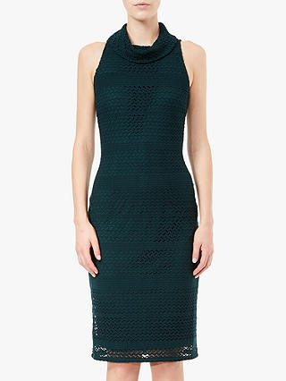 Buy Adrianna Papell Cable Knit Lace Dress, Forest, 8 Online at johnlewis.com