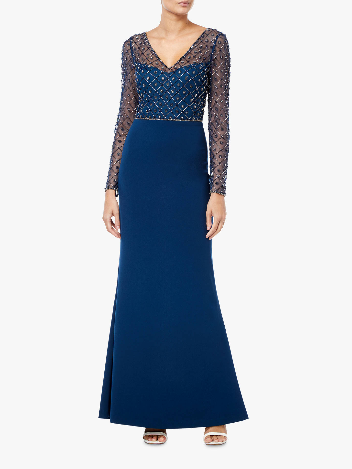 6822dcefc22 Buy Adrianna Papell Crepe Long Dress, Deep Blue, 16 Online at johnlewis.com  ...