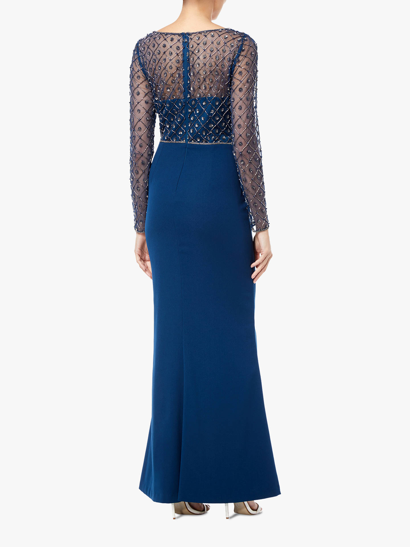 BuyAdrianna Papell Crepe Long Dress, Deep Blue, 10 Online at johnlewis.com