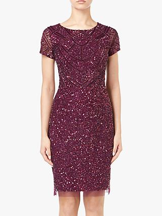 Adrianna Papell Short Sleeve Beaded Cocktail Dress, Cabernet