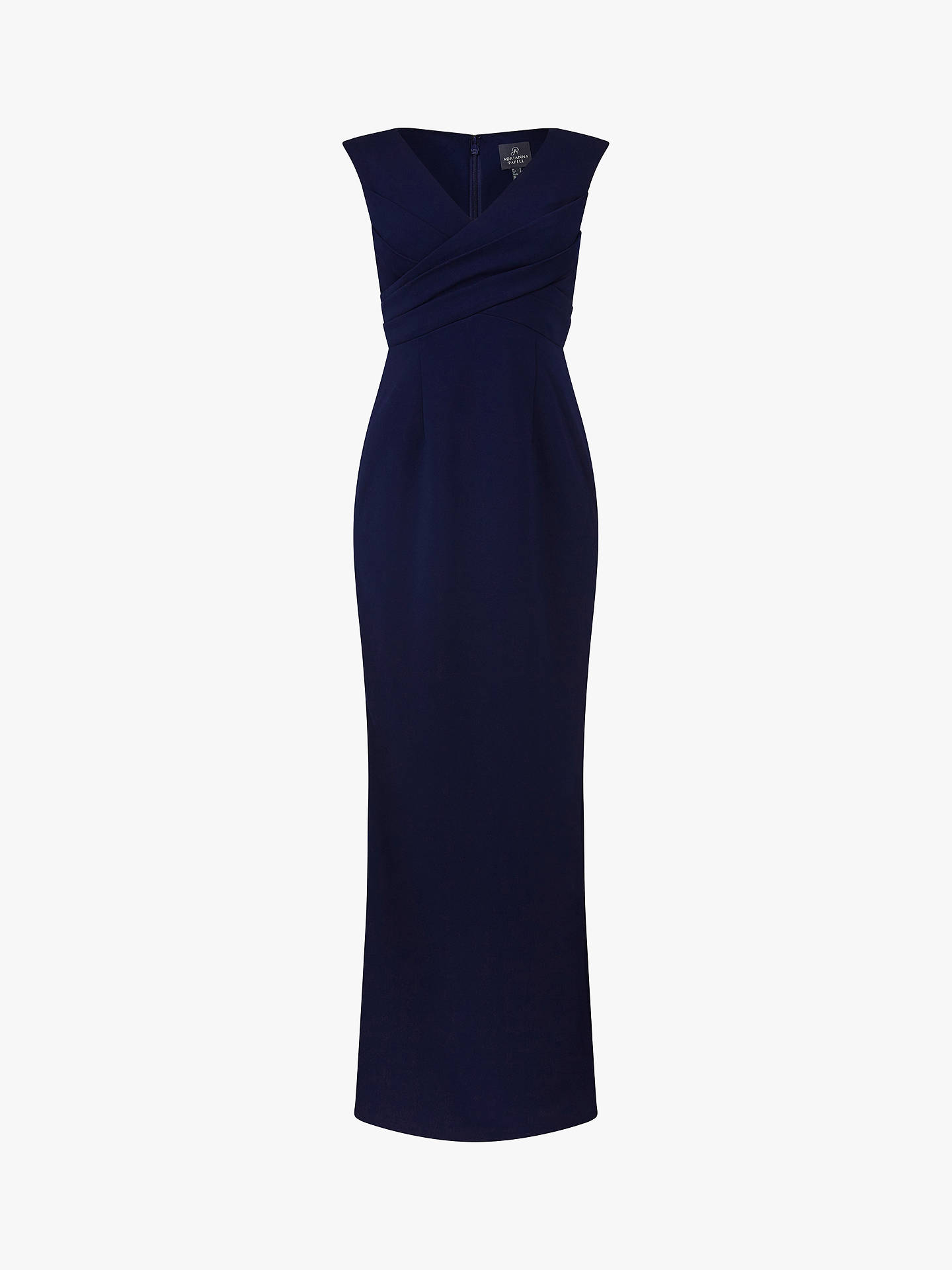 Buy Adrianna Papell Long Crepe Sleeveless V-Neck Dress, Midnight, 6 Online at johnlewis.com