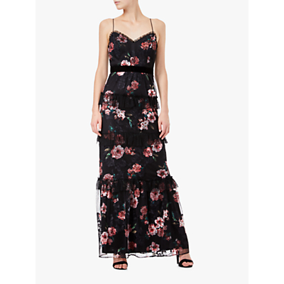 Adrianna Papell Tiered Floral Print Tulle Dress, Red Multi