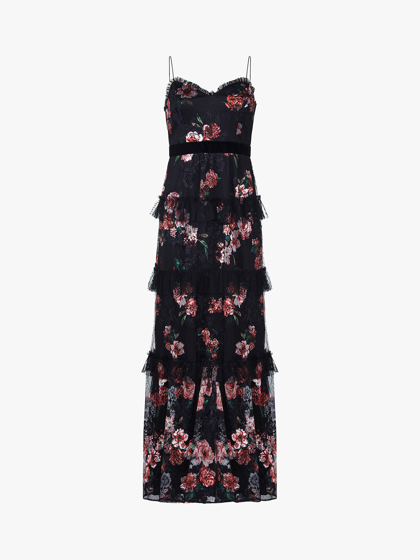 Buy Adrianna Papell Tiered Floral Print Tulle Dress, Red Multi, 6 Online at johnlewis.com
