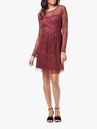 Adrianna Papell Delicate Chevron Fit And Flare Dress, Pale Mahogany