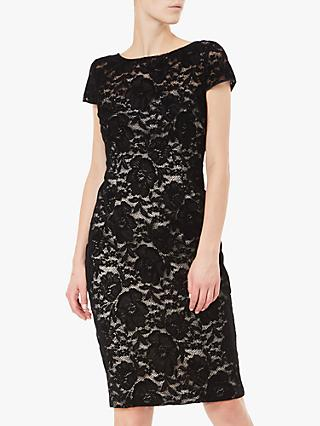 Adrianna Papell Lace Velvet Dress, Black/Nude