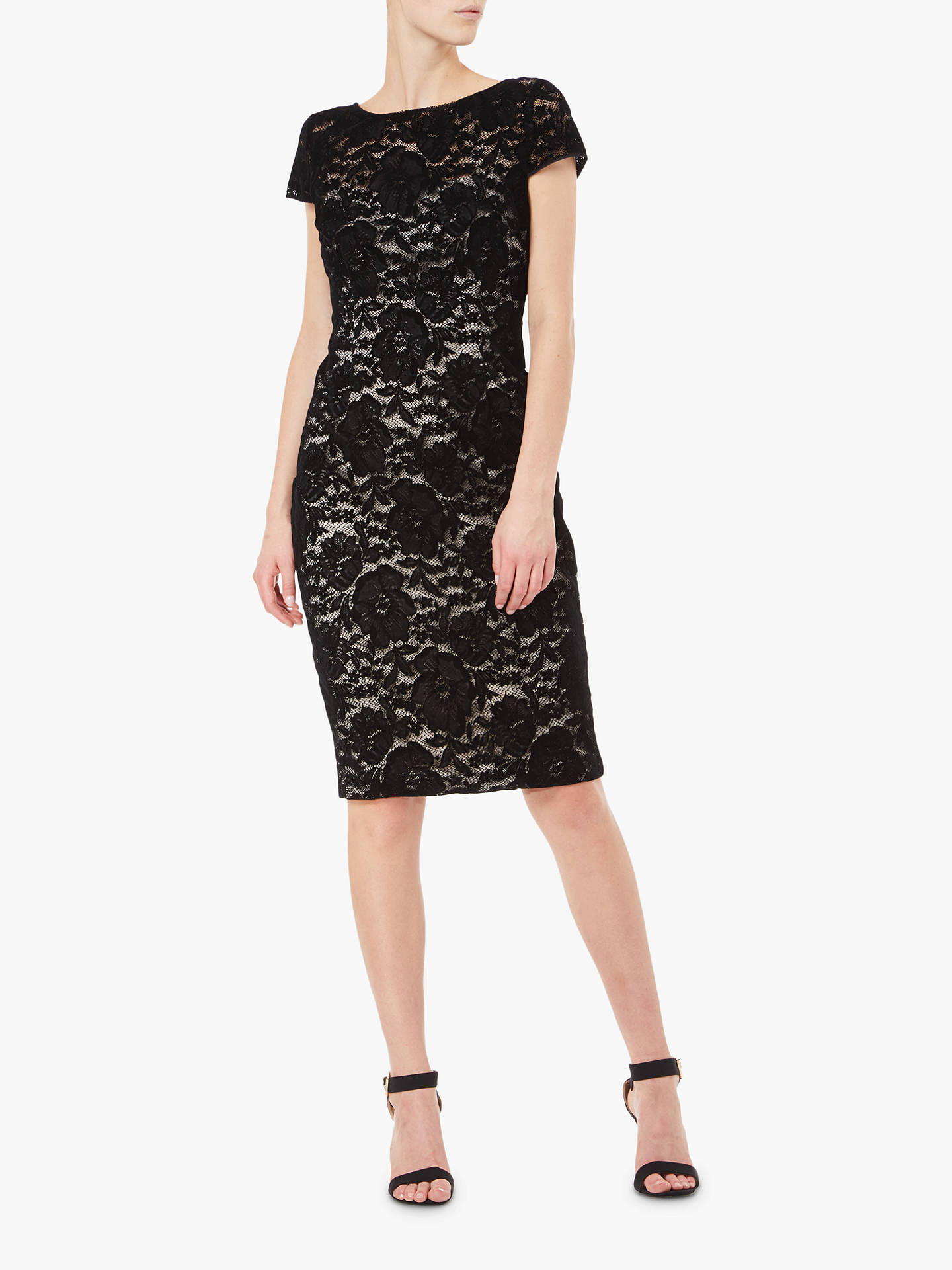 Buy Adrianna Papell Lace Velvet Dress, Black/Nude, 14 Online at johnlewis.com