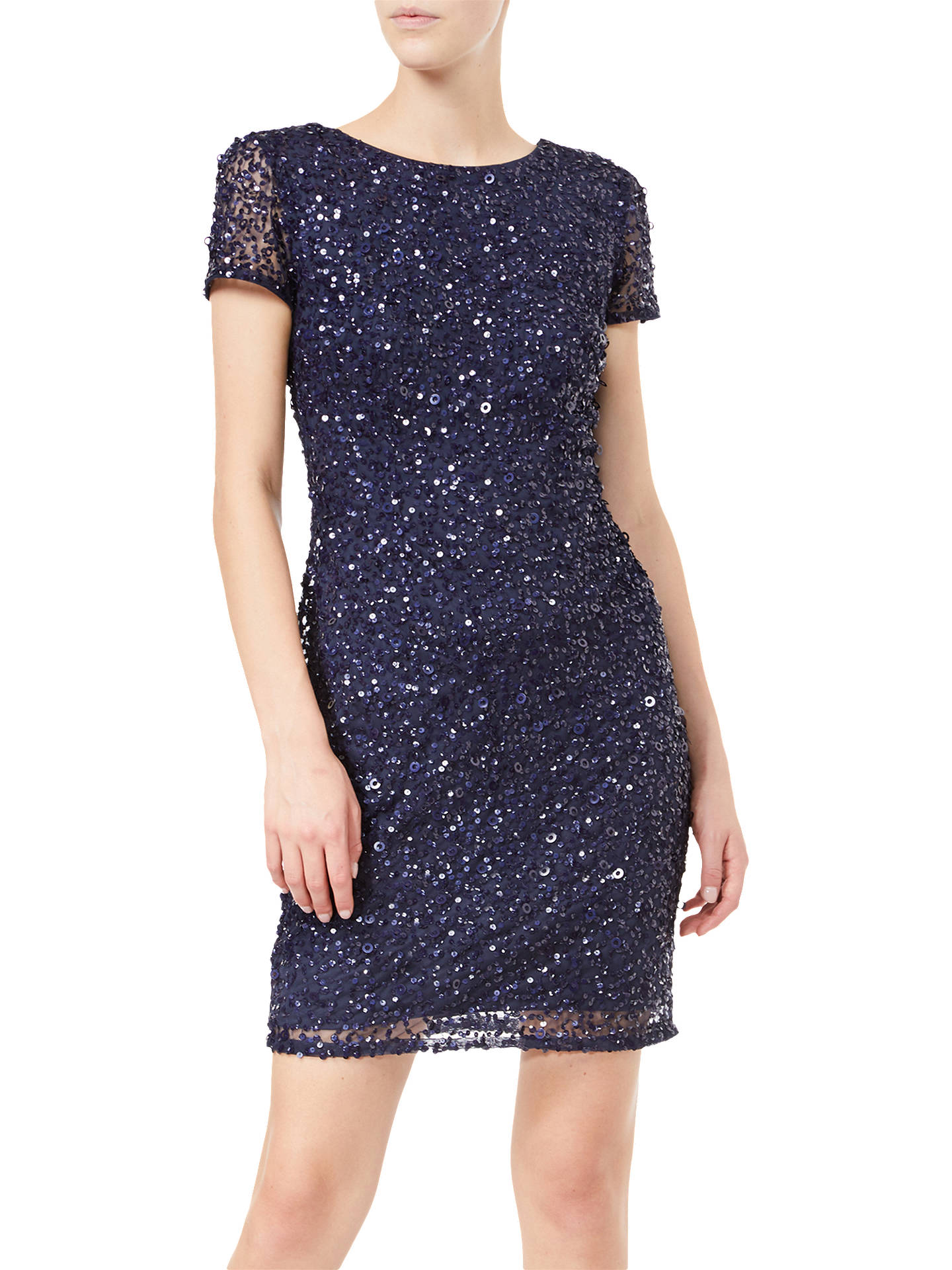 Buy Adrianna Papell Beaded Cap Sleeve Mini Dress, Navy, 8 Online at johnlewis.com